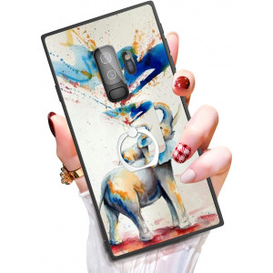 Someseed Samsung Galaxy S9 Plus Case S9 Plus Case with Kickstand Ring Holder Duty Shock Absorbent Full Body Drop Protection Modern Watercolor Elephant Design Cover for Samsung S9 Plus