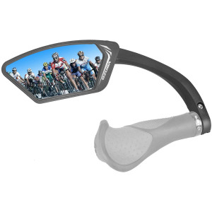Venzo Bicycle Bike Handlebar Mount Mirror Blue (75%) or Silver (50%) Lens Anti-Glare Glass Left,Right or Pair Set - Big Rear View Crystal Clear - Cycling Mountain or Road Bike