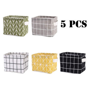 Tamicy Mini Storage BasketPack of 5- Blend Storage Bins for Makeup, Book, Baby Toy,8x6x5.5 inch Home Decor Canvas Organizers Bag 8x6.3x5.1 inch