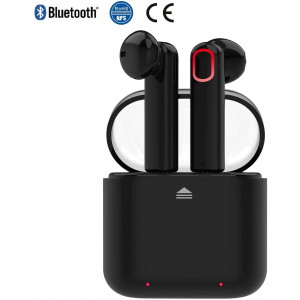 Cordless Headphone Bluetooth Earbuds Wireless Headset Headphones Invisible Cordless Rechargeable Earpiece for Laptop Smartphone Tablet Gaming Office Outdoor Voyager with HiFi 3D Stereo Sound (Black)