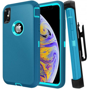 Casa iPhone Xs Max 6.5'' Shockproof Case, Touch 3 in 1 Heavy Duty Holster Case Belt Clip + Armor Protective Kickstand Cover for Apple iPhone Xs Max 6.5'' 2018 (Lack Blue)