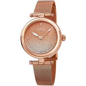 Burgi BUR231 Designer Women's Watch - Stainless Steel Mesh Strap  Swarovski Crystal Markers, Glitter Dial - Fashion Bracelet Wristwatch