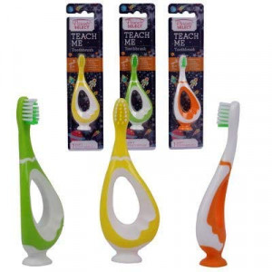 Baby Beginner Toothbrush for Baby, boy, and Girl. Learning Toothbrush with Bottom Suction Cup for Infants, Toddlers, and Children. (Orange/Green/Yellow) - 3pk