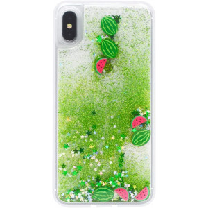 Fusicase for iPhone XR Case Liquid Case Funny Shiny Green Quicksands Flowing Sparkle Moving Bling Glitter Protective Cover with Clear Bumper Fruit Watermelon Pattern Case for iPhone XR