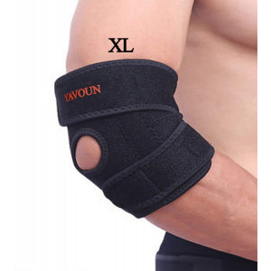 Elbow Support,Adjustable Tennis Elbow Support Brace, Great For Sprained Elbows, Tendonitis, Arthritis,basketballBaseball,Golfer's Elbow Provides Support and Ease Pains XL (Black Longer)