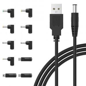 IBERLS Universal 5V DC Power Cable, USB to DC 5.5x2.1mm Plug Charging Cord with 10 Connector Tips(5.5x2.5, 4.8x1.7, 4.0x1.7, 4.0x1.35, 3.5x1.35, 3.0x1.1, 2.5x0.7, Micro USB, Type-C, Mini USB)
