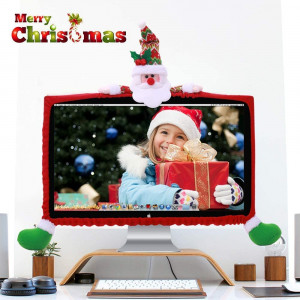 ElementDigital Computer Monitor Cover, Computer Case Christmas Three-Dimensional Cartoon Decorations for Home Mall Office Photography Christmas New Year Christmas Gift (Santa Claus)