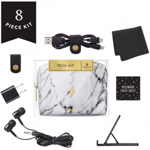 Pinch Provisions Tech Kit, Marble, 4 inches x 3 inches x 2 inches - Tech Accessories Bag Filled with 8 Essentials Including Earbuds, Charging Cord, USB Wall Charger and More, for Men and Women