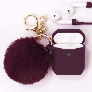 Filoto Airpods Case, Airpod Case Cover for Apple Airpods 2and1 Charging Case, Cute Air Pods Silicone Protective Case Airpods Accessories Keychain/Skin/Pompom/Strap 2020 New Best Gift for Girls, Burgundy