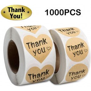 Thank You Stickers Roll 1000pcs Adhesive Labels Kraft Paper with Black Hearts, Decorative Sealing Stickers for Christmas Gifts, Wedding, Party