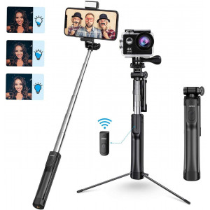 Mpow Selfie Stick Tripod, All in 1 Portable Extendable Selfie Stick with Bluetooth Remote and Fill Light, Compatible iPhone 11/11PRO/XS Max/XS/XR/X/8P/7P, Galaxy S20/S10/S9/S8 Gopro/Small Camera, Black
