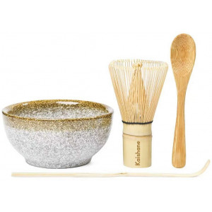 KAISHANE Japanese Matcha Whisk Set Matcha Tea Ceremony Set of 4 Including 100 Prong Matcha Whisk, Traditional Scoop, Tea Spoon and Ceramic Matcha Bowls