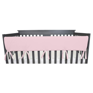 """American Baby Company 1 Pack Heavenly Soft Chenille Reversible Crib Rail Cover for Long Rail, Pink, Wide for Rails Measuring up to 18"""" Around"""