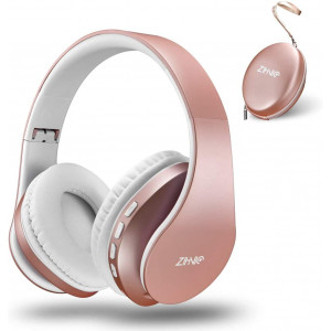 Bluetooth Over-Ear Headphones, Zihnic Foldable Wireless and Wired Stereo Headset Micro SD/TF, FM for Cell Phone,PC,Soft Earmuffs andLight Weight for Prolonged Waring (Rose Gold)
