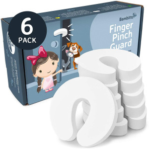 Finger Pinch Guard Door Stopper - 6 pack. Protect Child Fingers with Soft Durable Safety Foam Guard. Baby Proof Doors, Draft Stop Cushion, Slam Bumper. Prevent Kids and Pets from Getting Locked in Room!