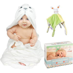 Bapify Bamboo Hooded Baby Towel - Bunny Design Baby Towel with Security Blanket Unisex - Ultra Soft and Absorbent Baby Bath Towel for Boy and Girl - Large Hooded Towel for Babies, Infants and Toddlers