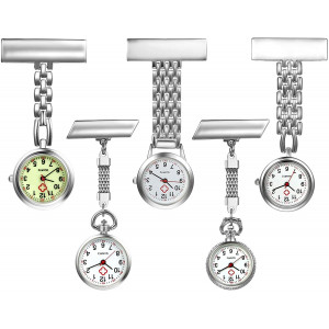 Nurse Watch with Second Hand for Women and Men 1-5 Pack Simple Classic Nurses Doctors Paramedic Tunic Lapel Pin-on Brooch Quartz Fob Watch Large Arabic Numeral Mark