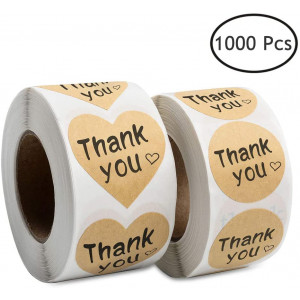 """Thank You Stickers, 1000 Kraft Paper Thank You Adhesive Label, 1.5 Heart Shaped Stickers and 1.25"""" Round Adhesive Labels for Party, Wedding, Gift or Birthday"""