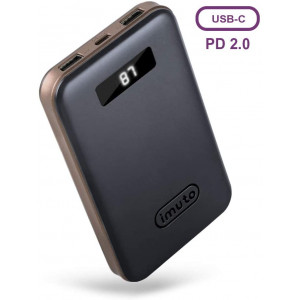 imuto 10000mah 18W PD QC 3.0 Portable Charger Power Bank USB C with LCD Display External Battery Charger Fast Charge for iPhone11 Pro XR Max 8 Plus, Samsung Note S9, Nintendo Switch, iPad Pro
