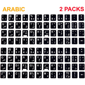 [2 Packs] Replacement Keyboard Stickers on Non Transparent Black Background for Any PC and Laptop (ARB)