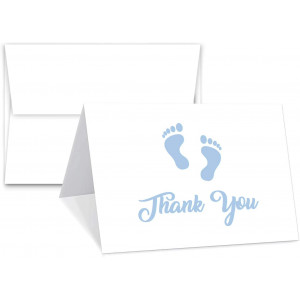 """Baby Boy Blue Footprint Thank You Cards With Envelopes - Blank on The Inside - Baby Shower Gifts 