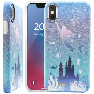 Unov Phone Case Soft Protective Slim TPU Shockproof Bumper Wave Design Support Wireless Charging Cover for iPhone X iPhone Xs 5.8 Inch (Mermaid Castle)