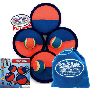 Matty's Toy Stop Deluxe Toss and Catch (Hook and Loop) Tropical Colors Paddle Game Set with 4 Paddles, 3 Balls and Storage Bag
