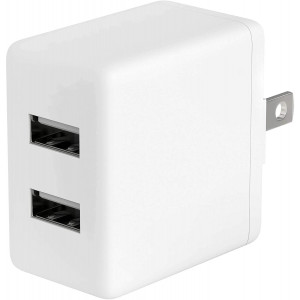 USB Wall Charger by TalkWorks | 12W/2.4A | Dual Port Universal Cell Phone Charger Adapter For Apple iPhone, iPad, Nintendo Switch, Android for Samsung Galaxy, Bluetooth Speaker, Tablet - White