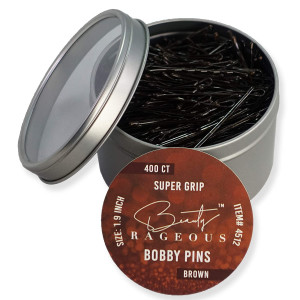 Super Grip Brown Bobby Pins - 400 Ct - Handy Reusable Tin