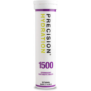 Precision Hydration Lite Electrolyte Drink - Multi Strength Effervescent Hydration Tablets - Combats Cramp - Low Calorie, Gluten Free, Vegan/Vegetarian Friendly, NSF (1 Tube, 1500mg/L - Purple Tube)