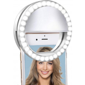 Selfie Ring Light for iPhone and AndroidLVYOUIF Portable Clip on Ring Selfie Light Flash with 36 Rechargeable LED for Phone Laptop iPad Photography Camera Video Girls Makeup(White)
