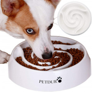 PETDURO Dog Bowls for Large Dogs, Slow Feeder Dog Bowls Large 9.75 Inch Heavy Duty Dog Food Bowls with Capacity of 14 Oz and Non-Slip Base to Slow Down Eating