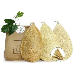 Miw Piw Natural Dish Sponge Pack 3 Vegetable Scrubber for Kitchen 100% Loofah Plant Cellulose Scouring Pad Biodegradable Compostable Dishwashing Zero Waste Luffa Loofa Loufa Lufa