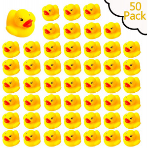 YsesoAi 50 Pack Mini Rubber Ducky Float Duck Baby Bath Toy, Shower Birthday Party Favors Gift