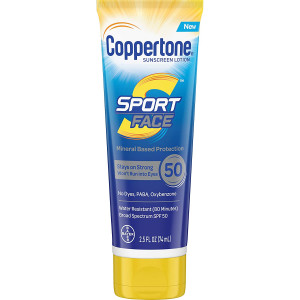 Coppertone Sport Face SPF 50 Sunscreen Mineral Based Lotion, Dye Free, PABA Free and Oxybenzone Free (2.5 Fluid Ounce)