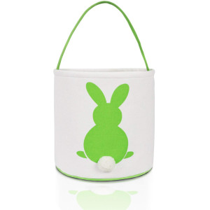 MONOBLANKS Easter Bunny Basket Bags for Kids Canvas Cotton Carrying Gift and Eggs Hunt BagFluffy Tails Printed Rabbit Canvas Toys Bucket Tote (Green)