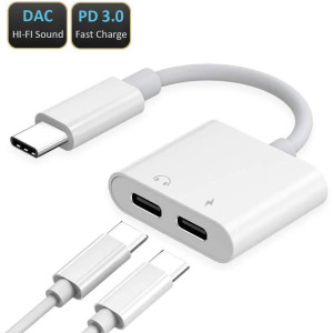 USB C Splitter Audio and Charger, USB Type C Adapter Compatible with Google Pixel 3/3XL/2/2XL, Samsung Galaxy Note 10 Plus/A80/A8S/S8/S9, iPad Pro, MacBook, Xperia Z23, Huawei P20/P30/Mate 20 White