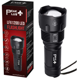 PeakPlus LED Flashlight LFX1200 - Flashlights High Lumens, Zoomable, Water Resistant, High-Powered, Bright 5 Light Modes LED Flashlight For Camping, Emergency, Everyday Use