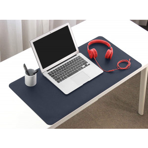 BOONA Desk Mat/Mouse Pad Protector-23.6''x11.8'' Multifunctional Ultra Thin Waterproof PU Leather Writing Pad for Office Laptop, Gaming Computer and Travel(60cmx30cm/ Dark Blue +Yellow)