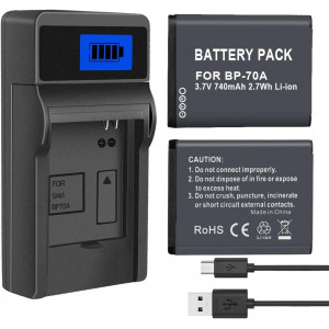 PALO 2 Pack BP-70A, BP70A Battery with Battery Charger for Samsung DV150F, ES65, ES70, ES80, MV800, PL120, PL170, PL20, PL200, PL80, SL50, SL600, SL605, SL630, ST65, ST66, ST76, ST80, ST90, ST95