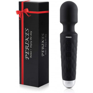 PERIKES Personal Mini Wand Massager with 20 Magic Vibration Wireless USB Rechargeable Handheld Waterproof Mute Shoulder Neck Back Body Massager Deep Stress Relax Gift for Women/Men (Black)