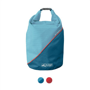 Kurgo Dog Food Travel Bag | Pet Food Travel Storage Container | Dog Travel Accessories for Camping | Easy to Clean | BPA Free | Foldable | Holds 5 Pounds | Kibble Carrier | Coastal Blue and Chili Red