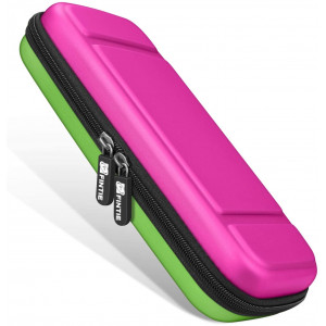 Fintie Carry Case for Nintendo Switch - [Shockproof] Hard Shell Protective Cover Travel Bag w/10 Game Card Slots, Inner Pocket for Nintendo Switch Console Joy-Con and Accessories, Magenta Green