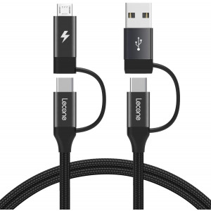 USB C Charging Cable, Lecone Micro USB Data Transfer 4 in 1 Multi Cable 1m/ 3.3FT Nylon Braided Cord Charger Adapter with USB C x2/Micro USB/USB Ports for Android and Type C Devices [Black]