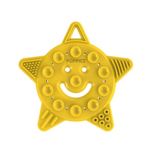 POPPIES Smiley The Star  Silicone Sensory Toy  BPA-Free  Teether, Sensory, Bath Toy with Suction Cups and Textures to Stimulate Development and Soothe Aching Gums (Yellow)