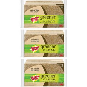 Scotch-Brite Greener Clean Natural Fiber Non-Scratch Scrub Sponge, Made from 100% Plant-Based Fibers, 3-Sponges, 3 Pack