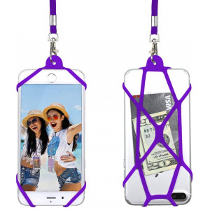 Gear Beast Universal Web Cell Phone Lanyard Compatible with iPhone, Galaxy and Most Smartphones, Includes Phone Case Holder,Neck Strap (Purple)