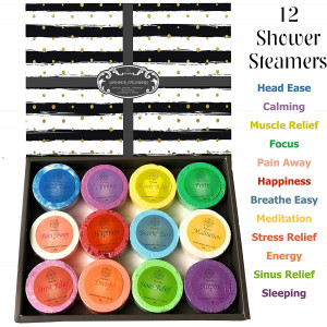 Purelis Shower Steamer Gift Box. Set of 12 Aromatherapy Shower and Bath Bombs Individually Wrapped. Organic Shower Steamer Tablets and Essential Oil Shower Steamers for Spa Gift Set