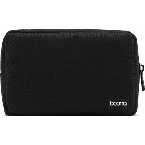 BOONA Power Supply Bag Universal Electronics Accessories Organizer for Power Bank,Charger,AC Adapter,Mouse,USB Cable,Earphone (Small,Black)