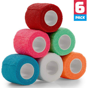 Vet Wrap - (Pack of 6-2 inch x 5 Yard Rolls) Self Adherent Wrap Cohesive Compression Bandage and Medical Gauze Bandage Roll Tape for Dogs, Cats, Horses - Assorted Colors